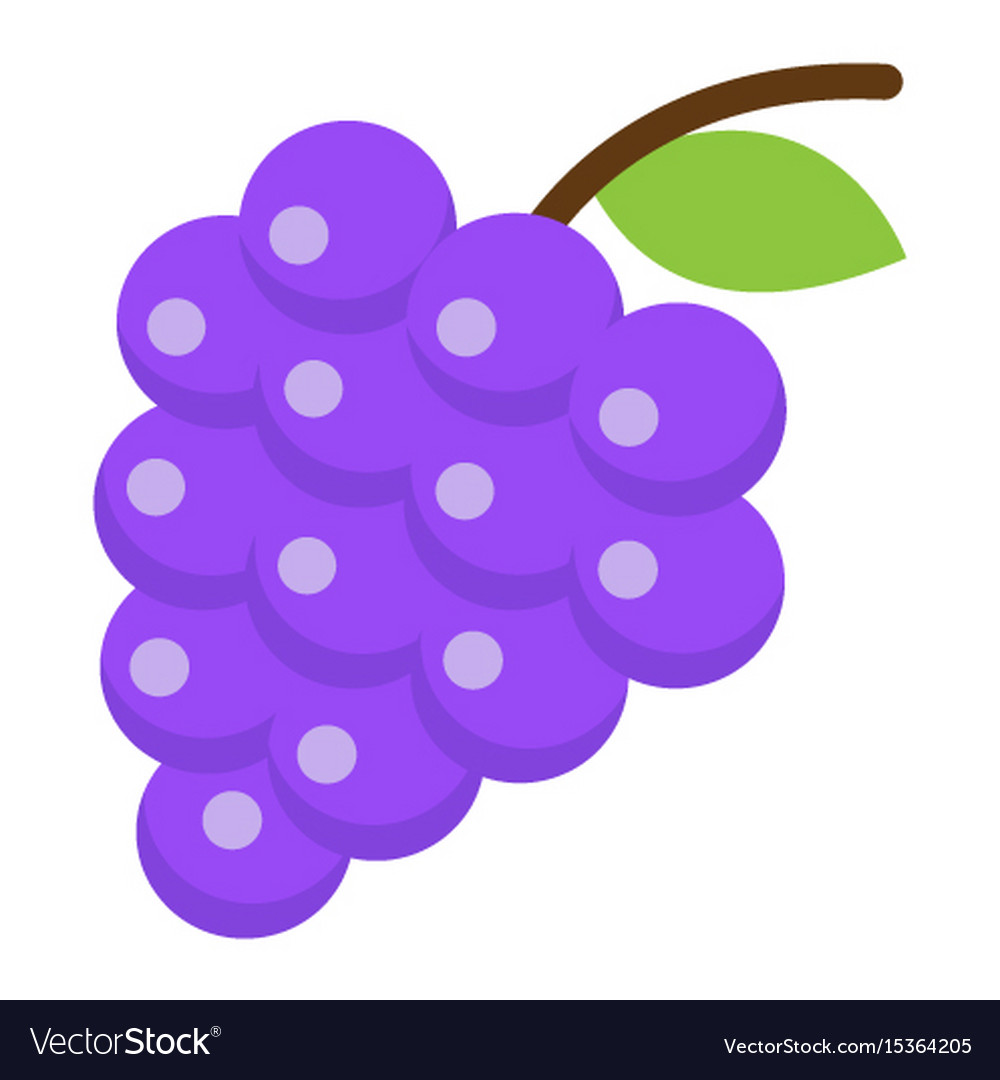 Grapes flat icon fruit and vitamin vector image