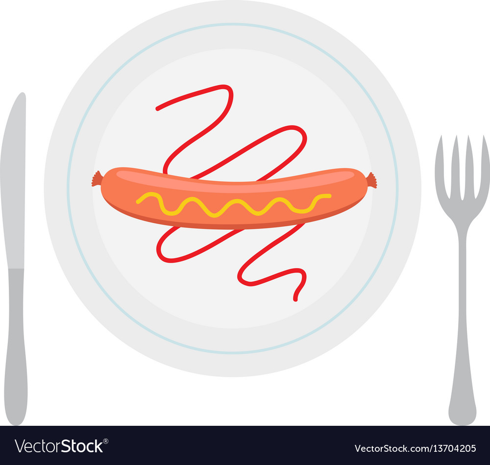 Grilled sausage on plate with ketchup mustard