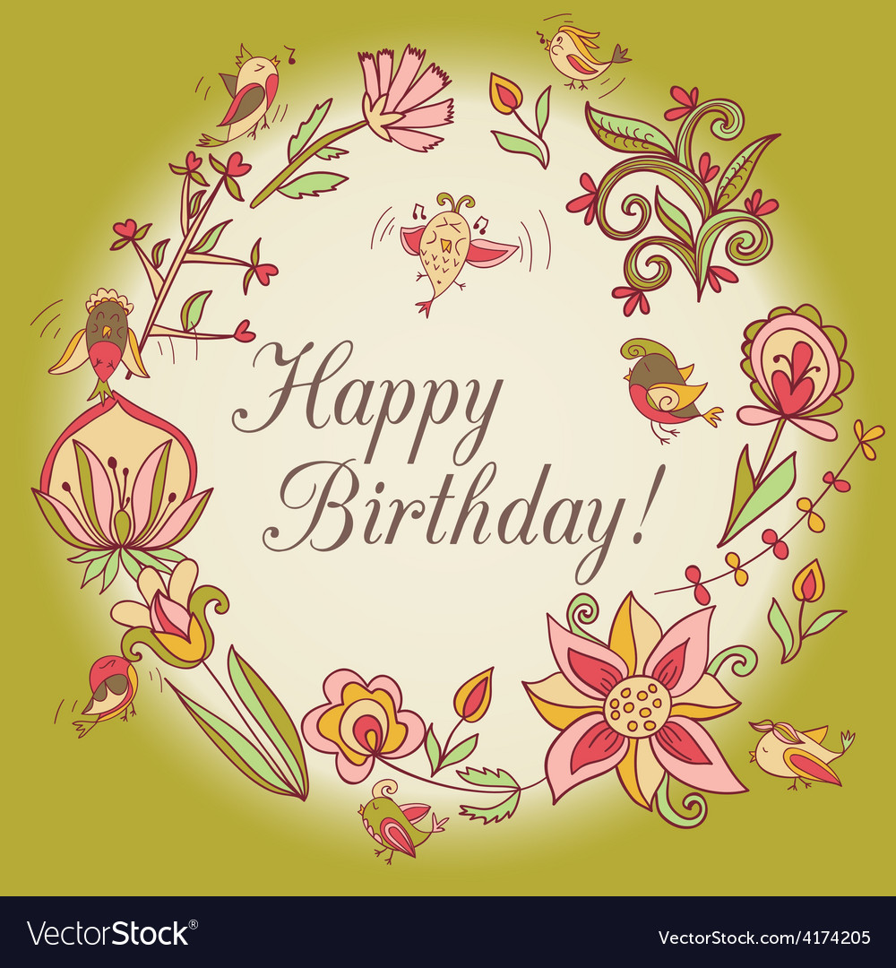 Happy Birthday Greeting Card Circle Floral Frame Vector Image On Vectorstock