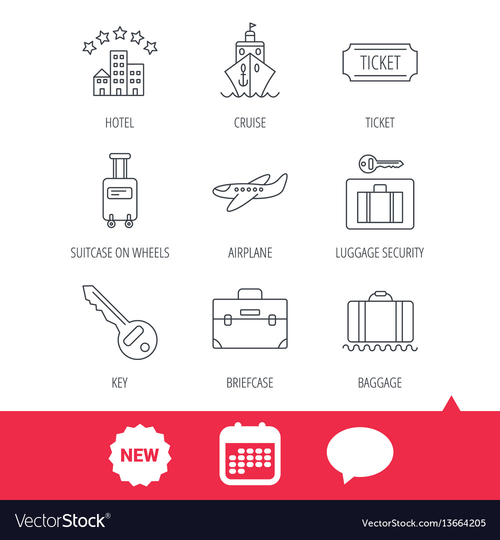 Hotel cruise ship and airplane icons