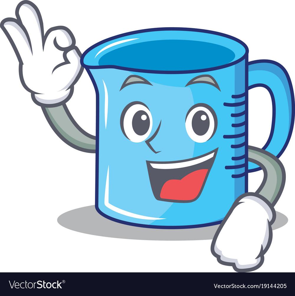 Okay measuring cup character cartoon Royalty Free Vector