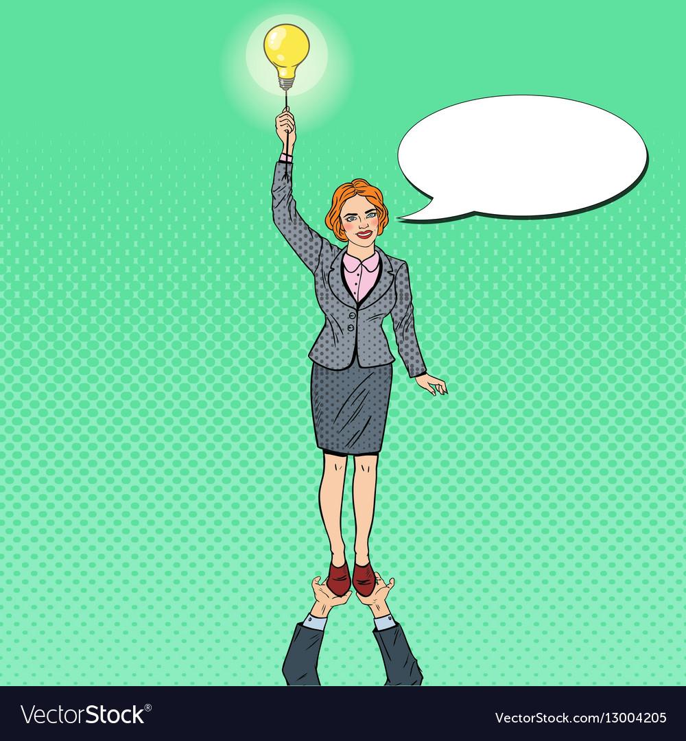 Pop Art Business Woman with Lightbulb Team Work