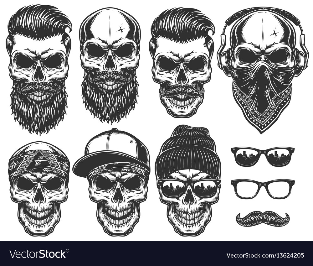 Set of different skull characters with different