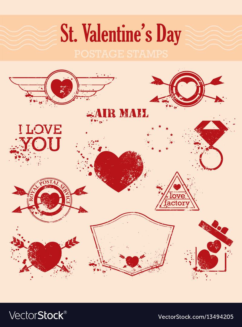 Set of stvalentine s day postage-stamps vintage Vector Image