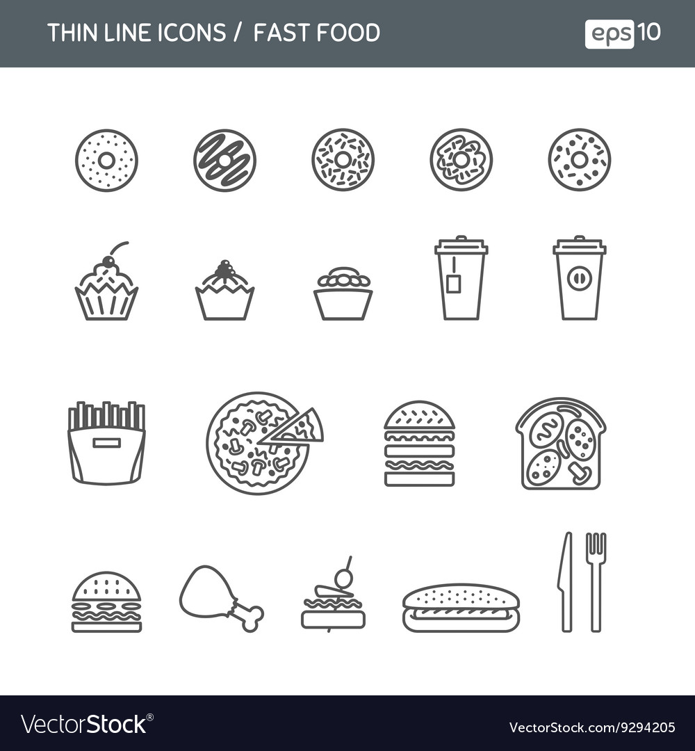 Set with thin line icons for Fast food