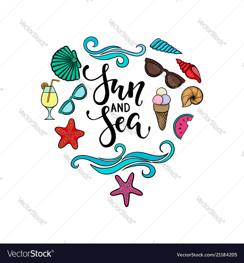 Sun and sea brush pen lettering hand drawn vector image
