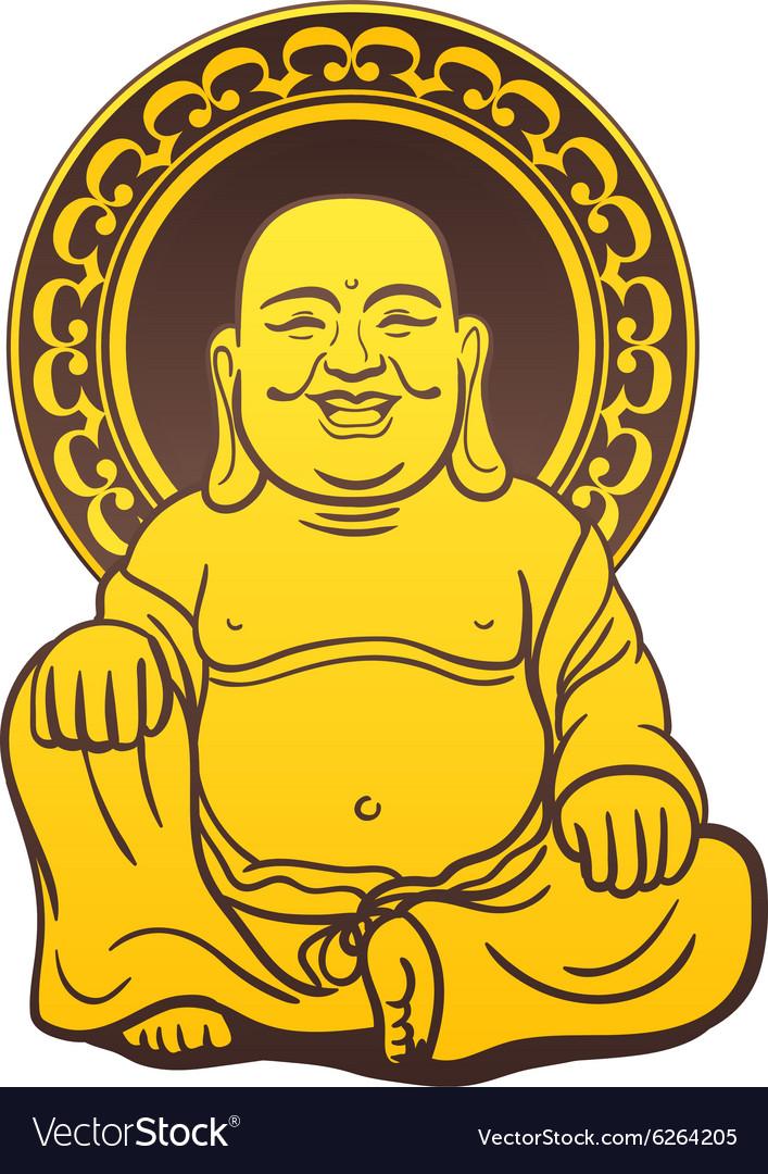 Thai Buddha Golden Statue vector image