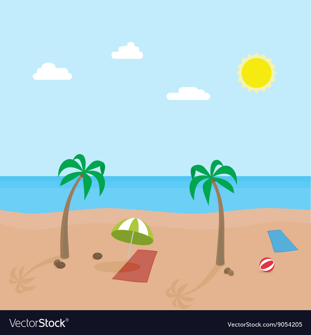 Tropic scene of sunny beach with different objects vector image