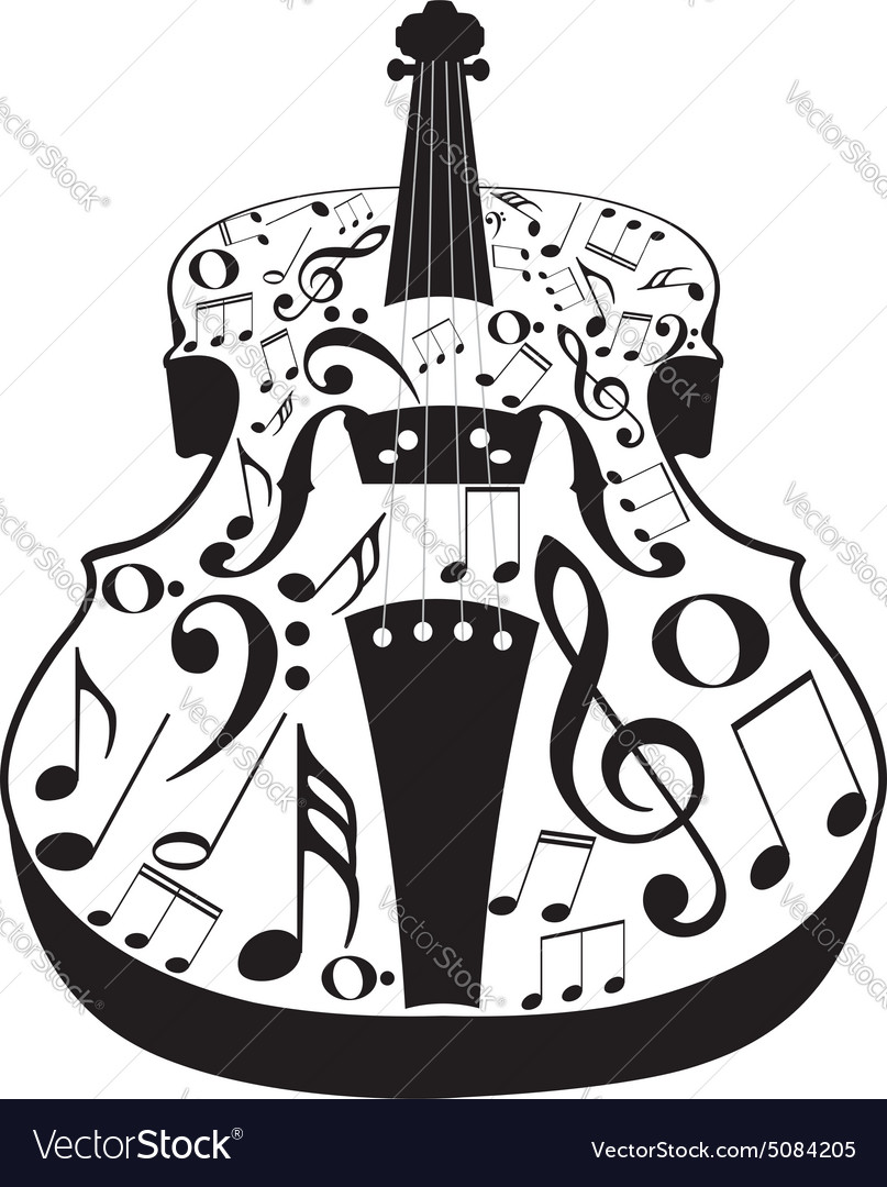 Violin with Notes2 vector image