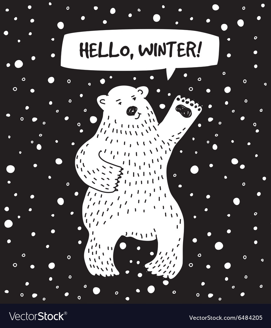 White bear with snow and sign hello winter