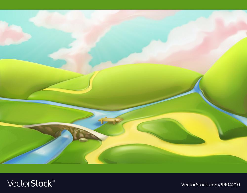 3d cartoon nature landscape with bridge with