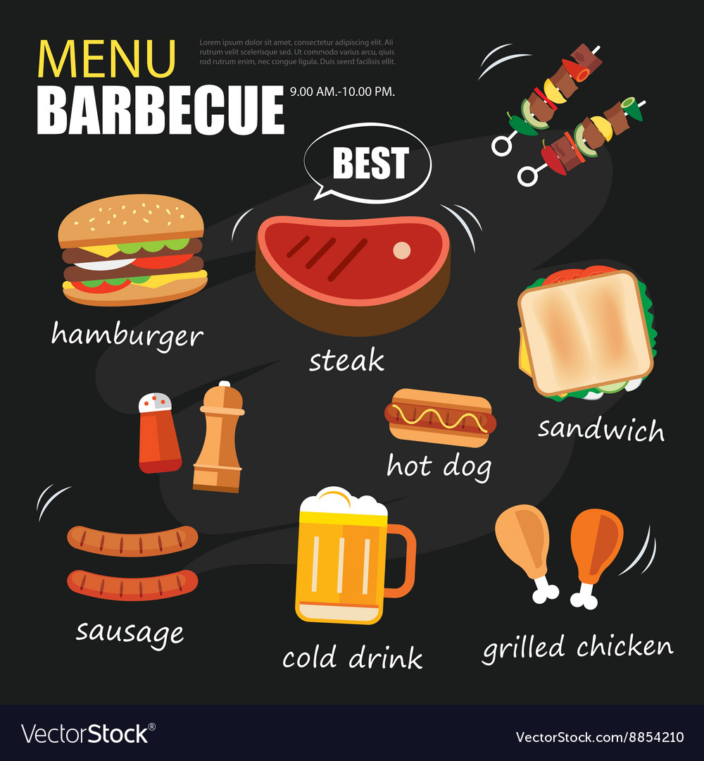 Barbecue menu party BBQ invitation template menu vector image