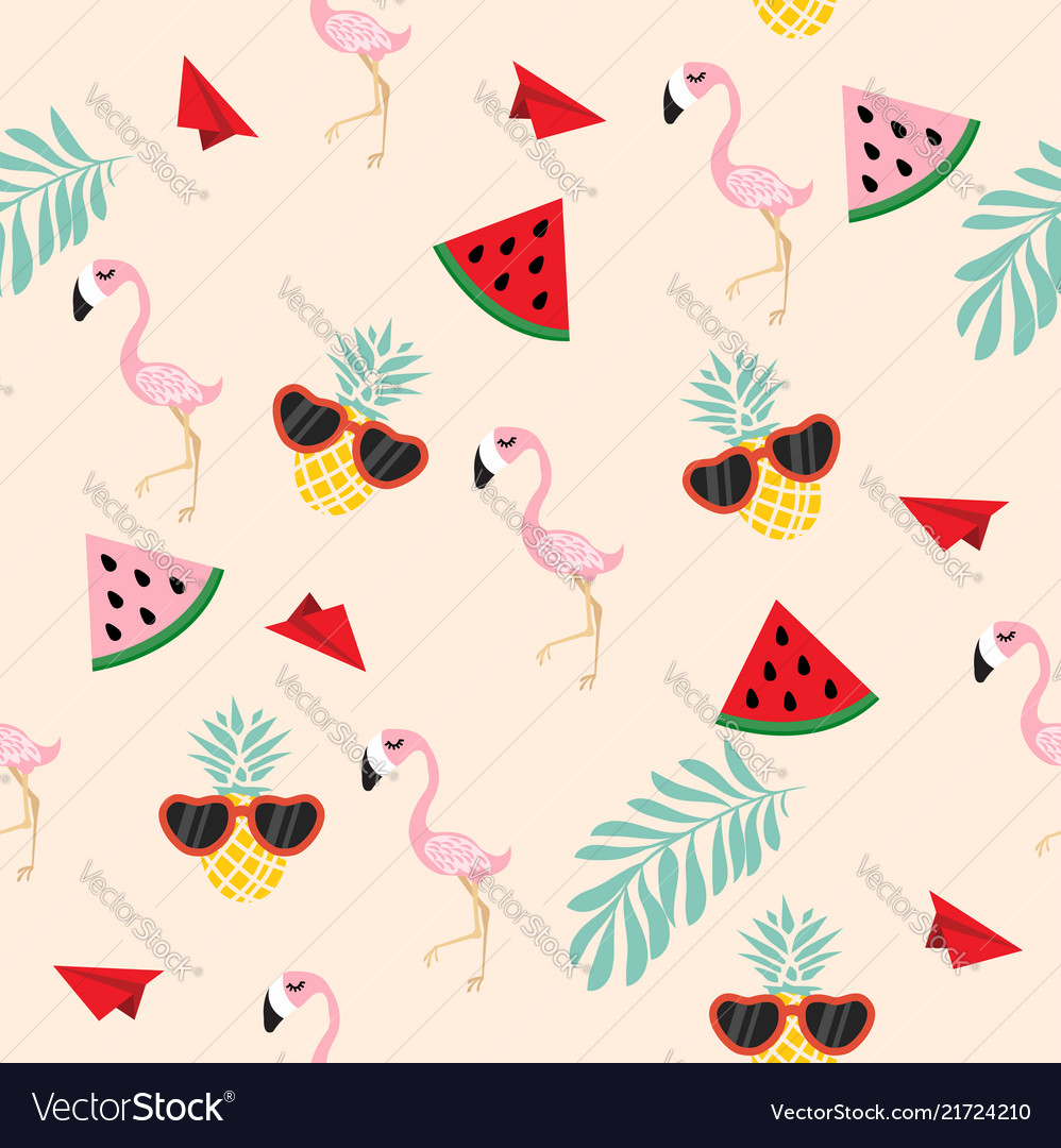 Cute pink flamingo tropical seamless wiht paper