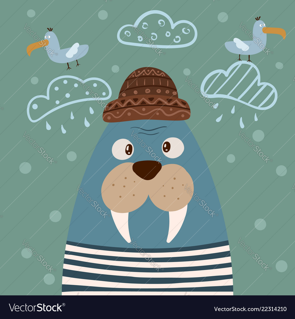 Cute walrus characters gull on the cloud