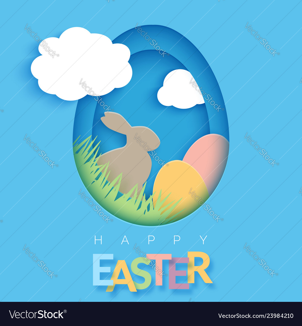 Easter card with paper cut egg shape frame happy