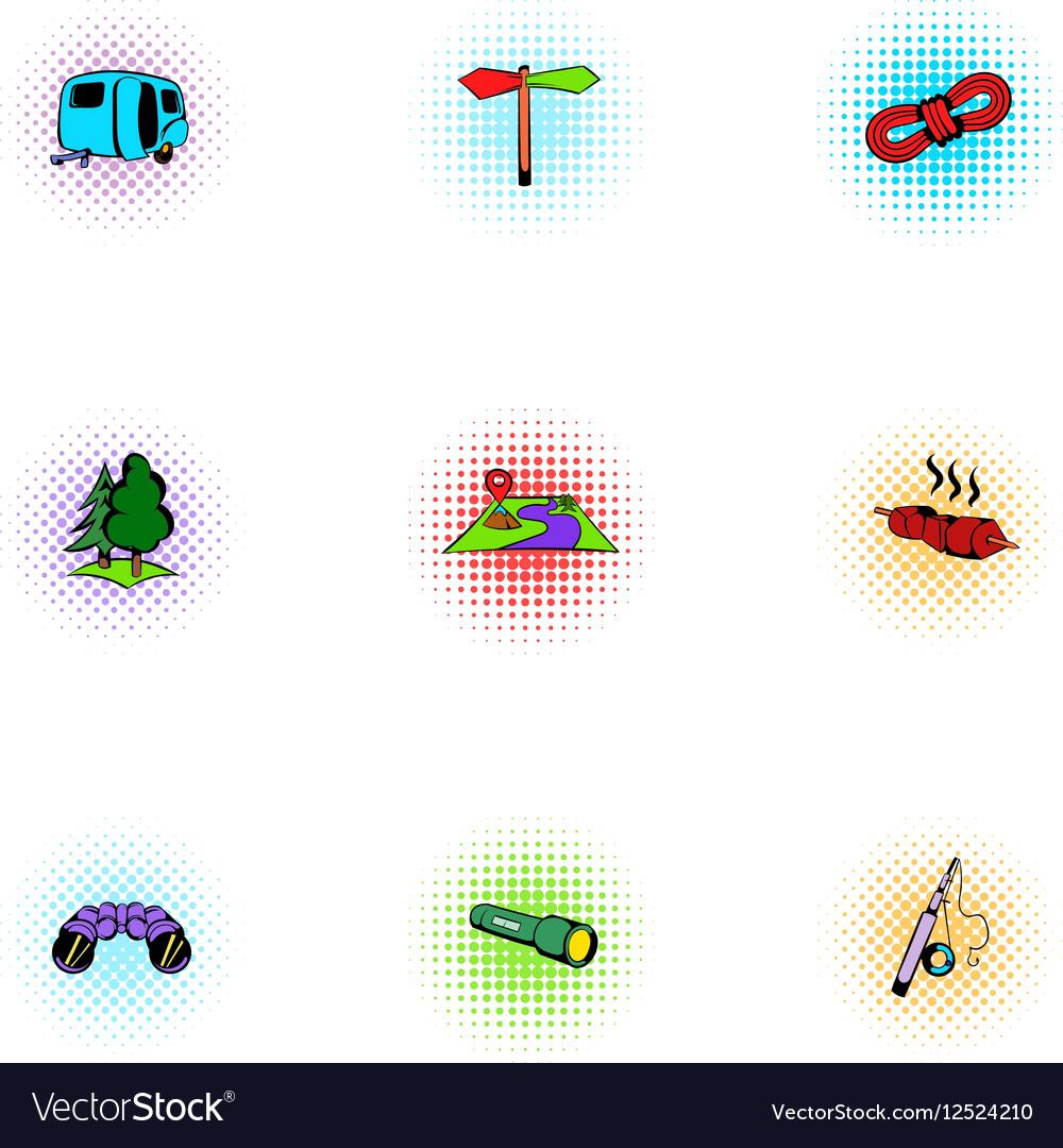 Encampment icons set pop-art style vector image