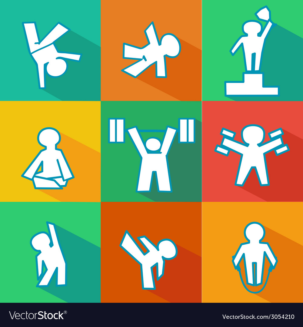 Flat fitness icons