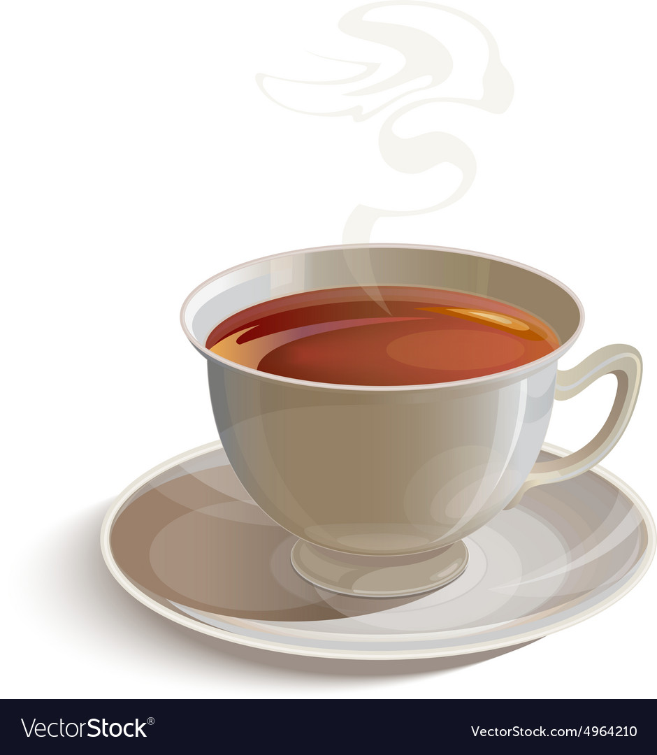 Isolated Realistic White Tea Cup With Saucer Vector Image