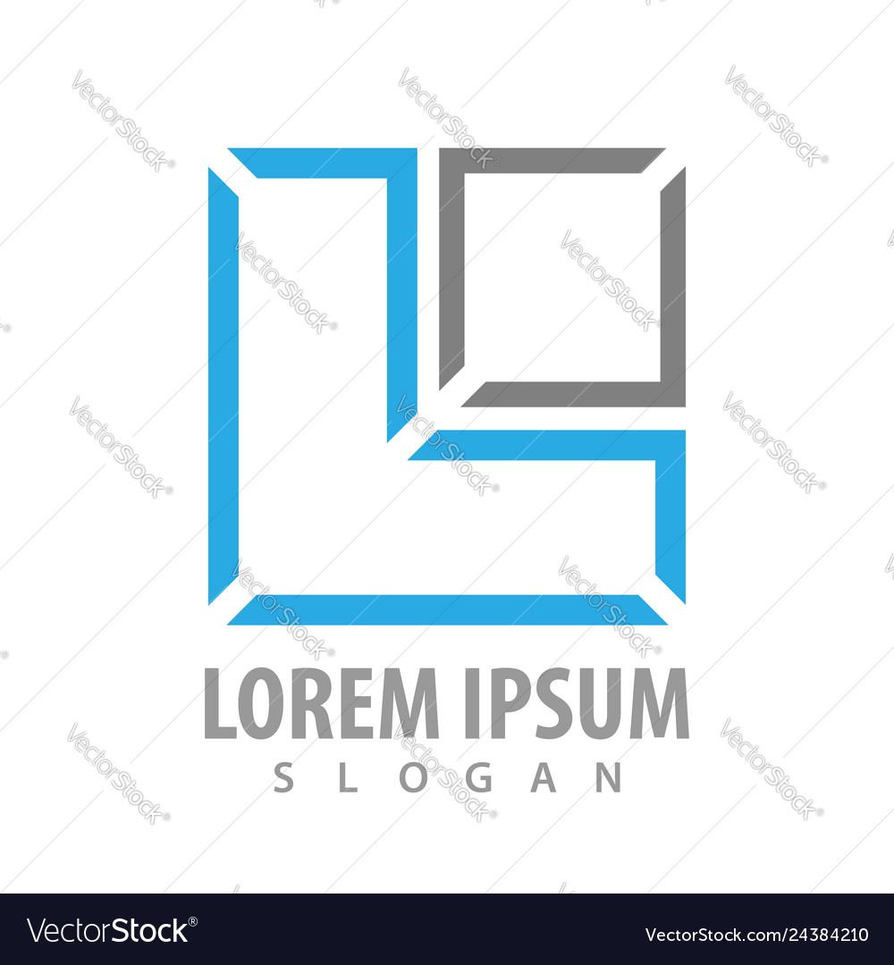 Line square letter l concept design symbol