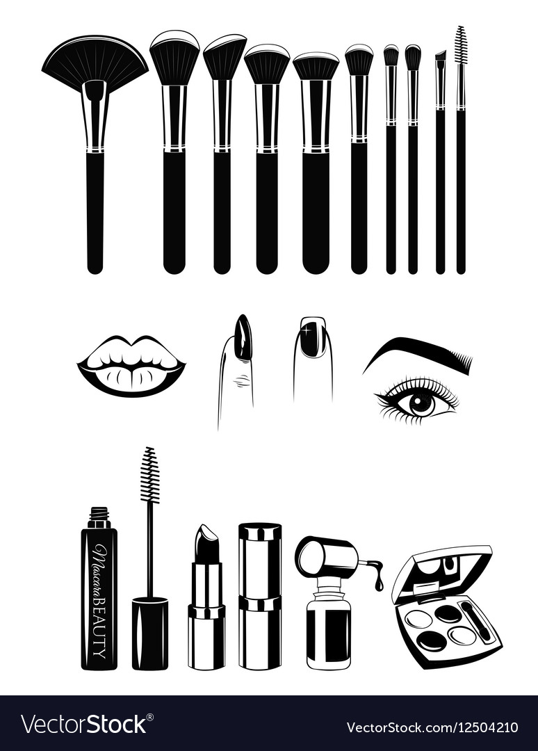 Makeup artist Brushs and tools Lips nails and eye