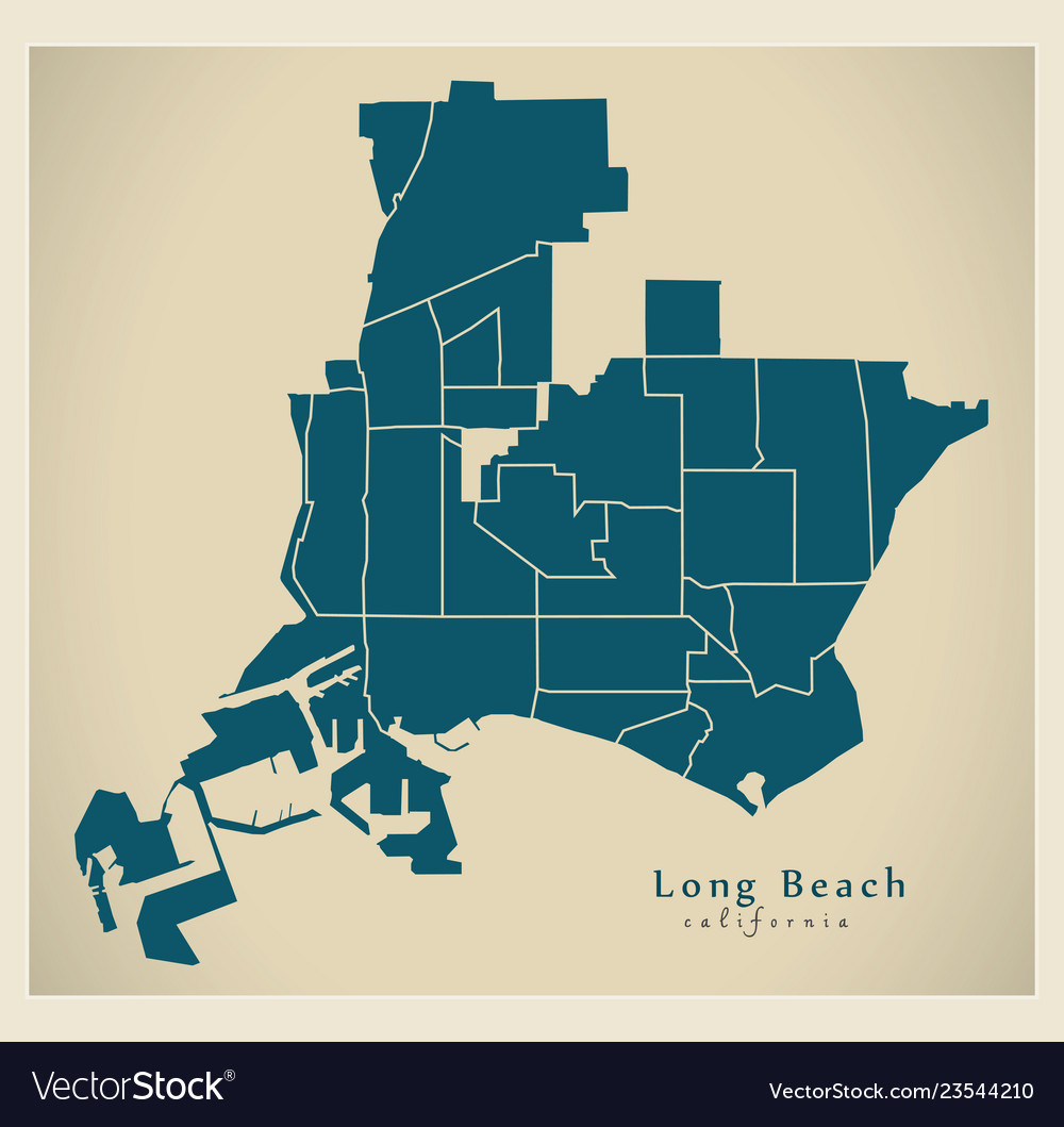 Modern city map - long beach california city of