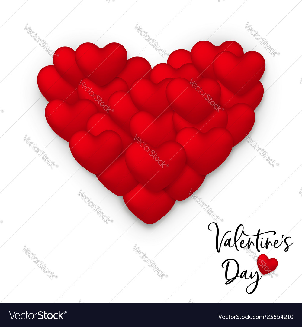 Red valentines day greeting card of heart balloon