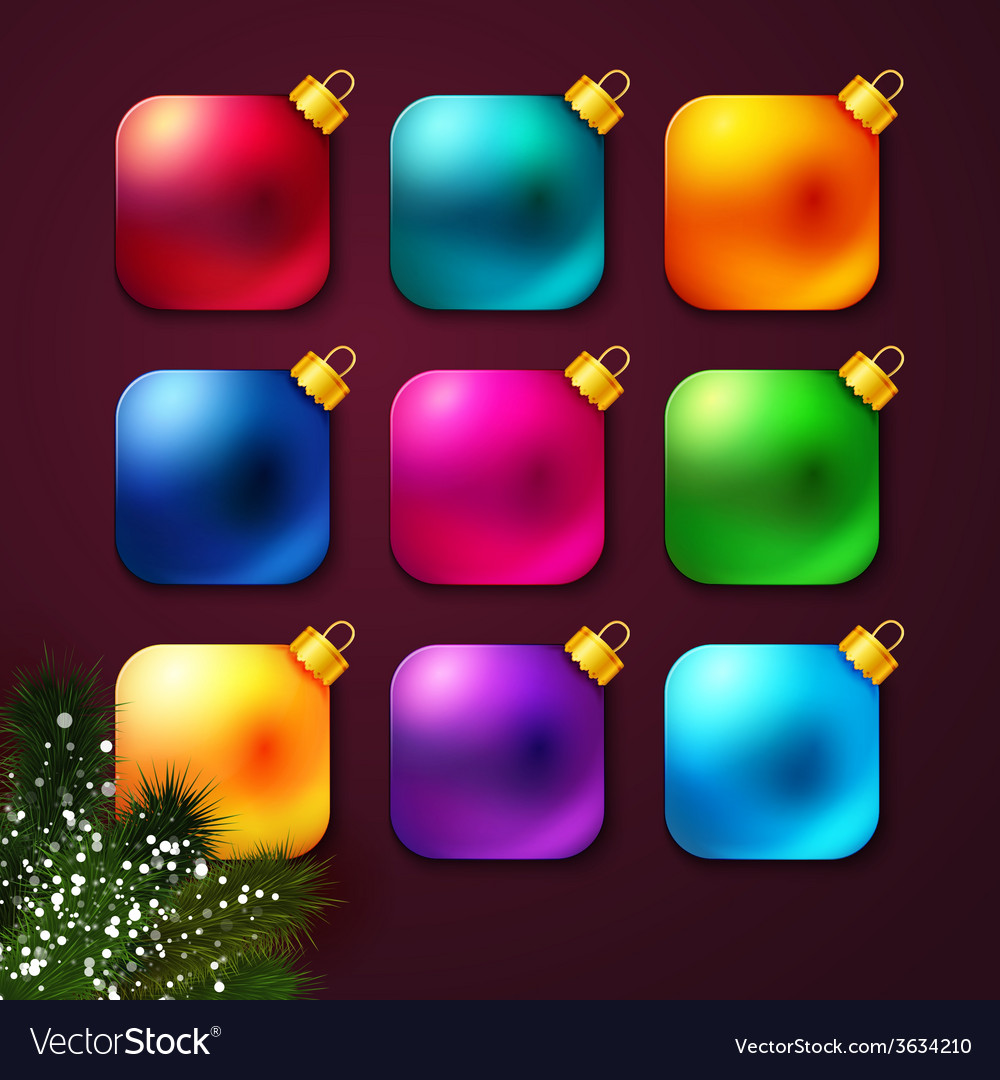 Set of colorful Christmas balls stylized like vector image