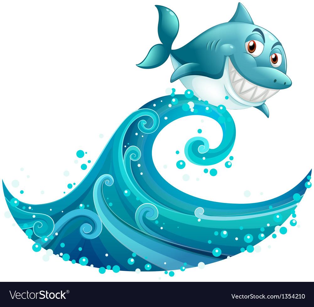 Shark Ridding Wave vector image