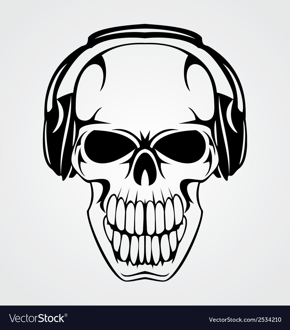 b009906810d Skull With Headphones Royalty Free Vector Image