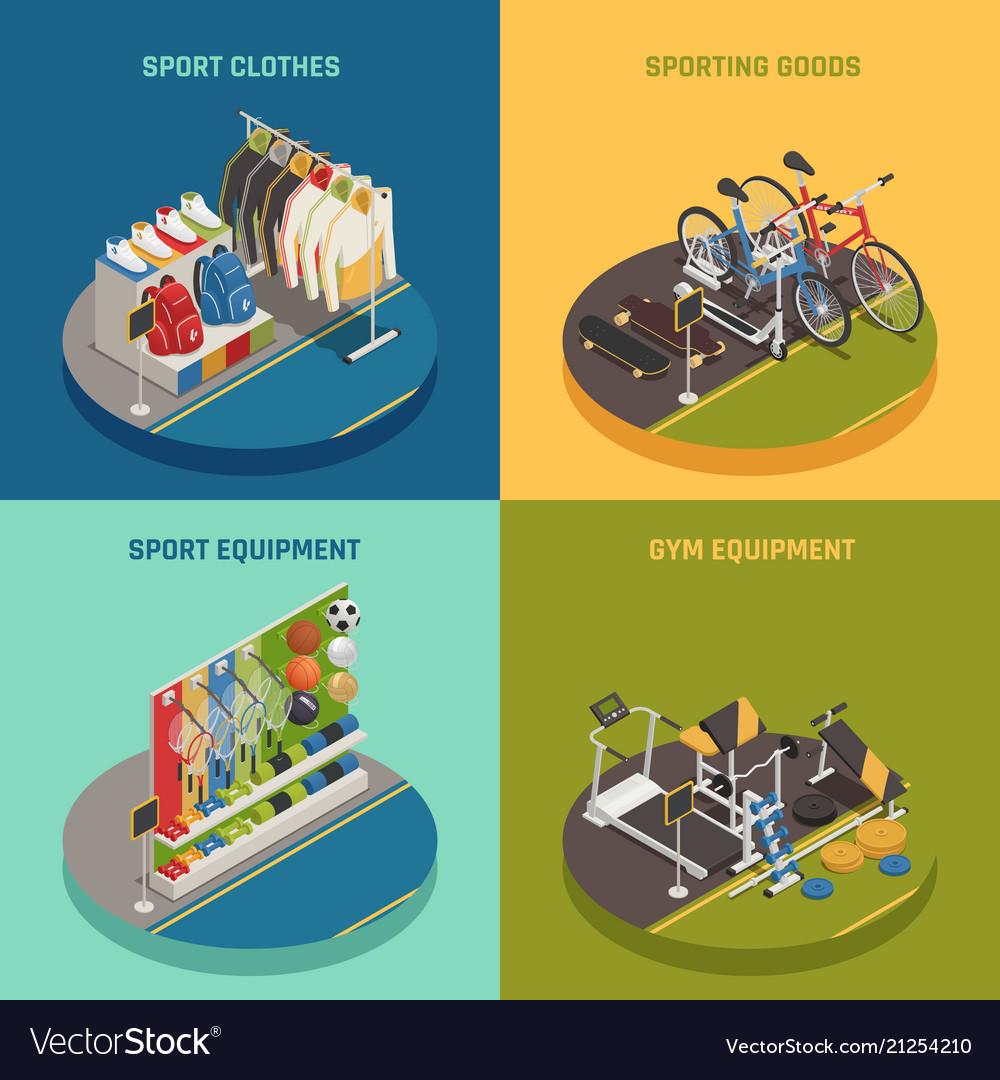 Sport shop isometric design concept