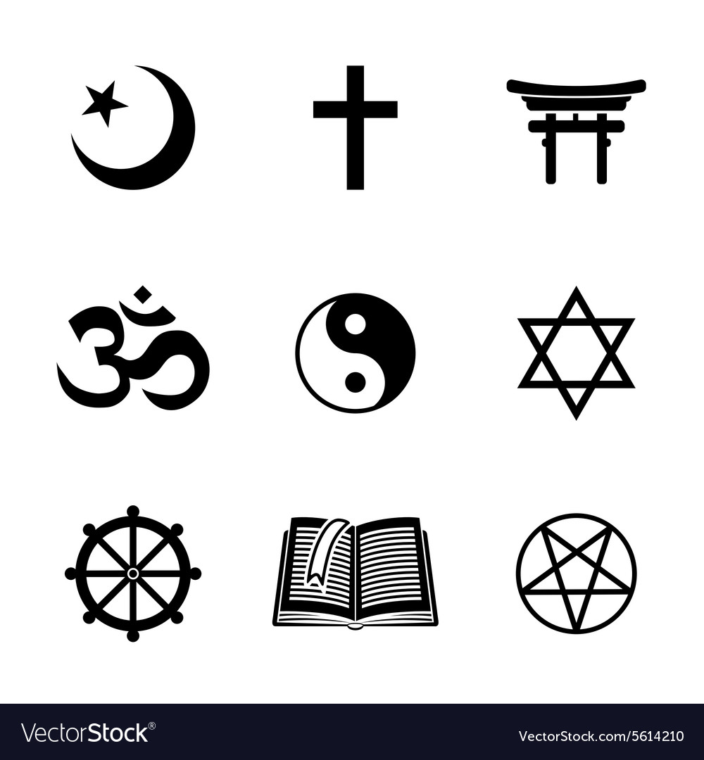 World religion symbols set with - christian vector image