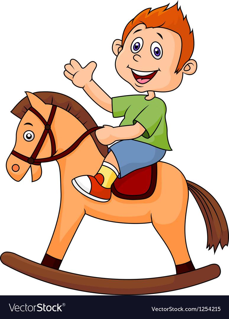 A cartoon boy riding a horse toy