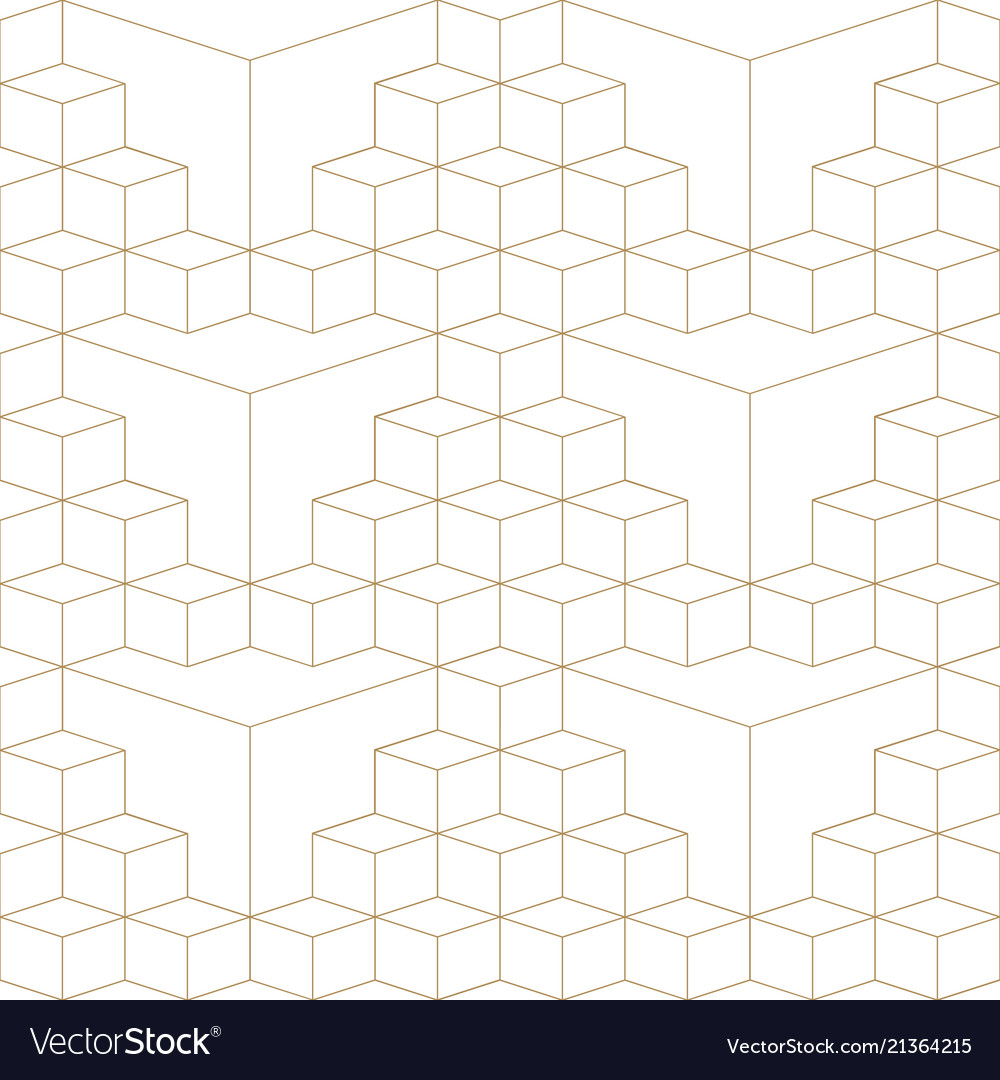 Abstract geometric 3d grid seamless pattern gold