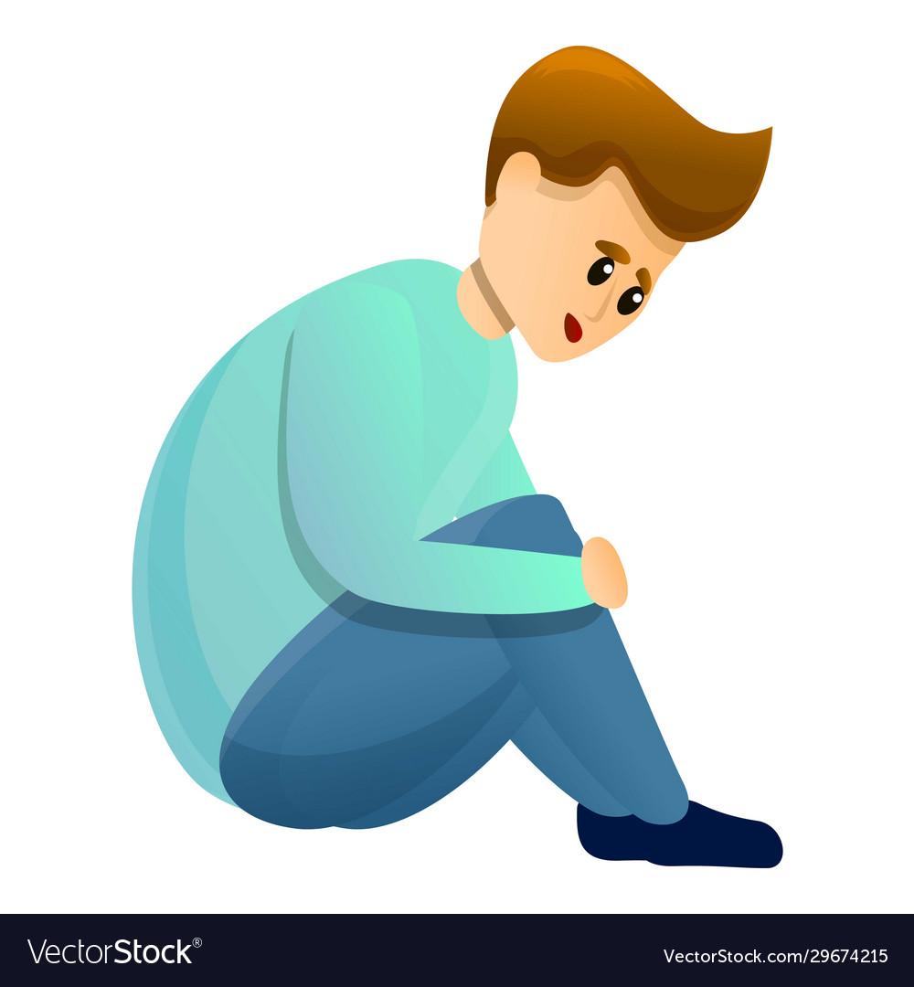 Alone Boy Mental Hospital Icon Cartoon Style Vector Image