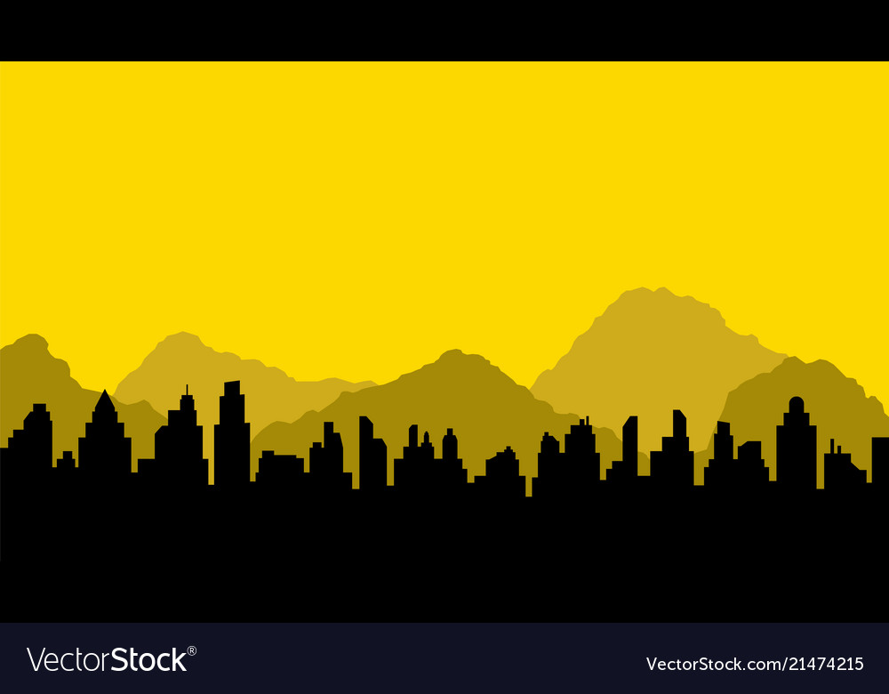 Black silhouette of city and mountains