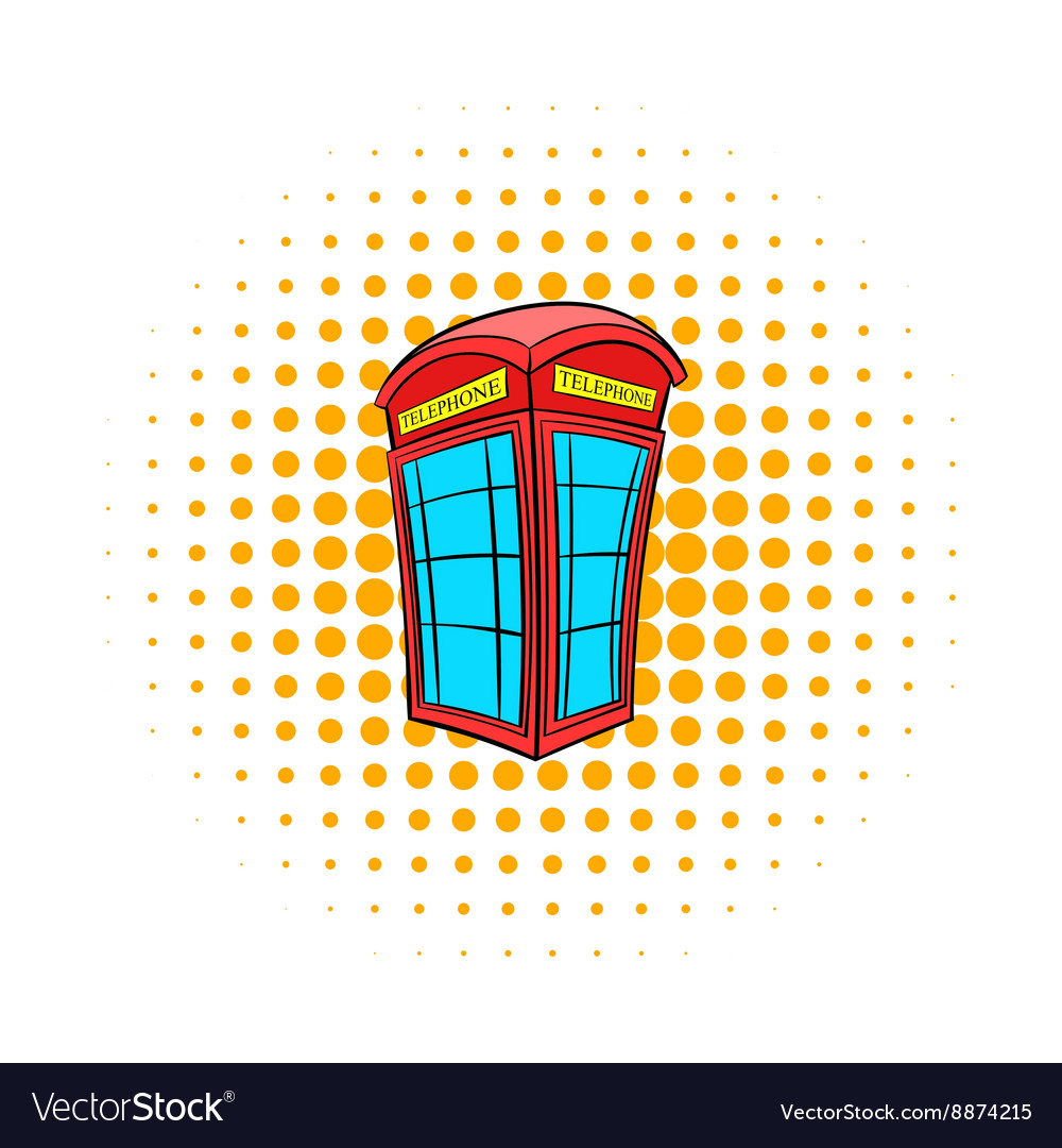 British red phone booth icon comics style