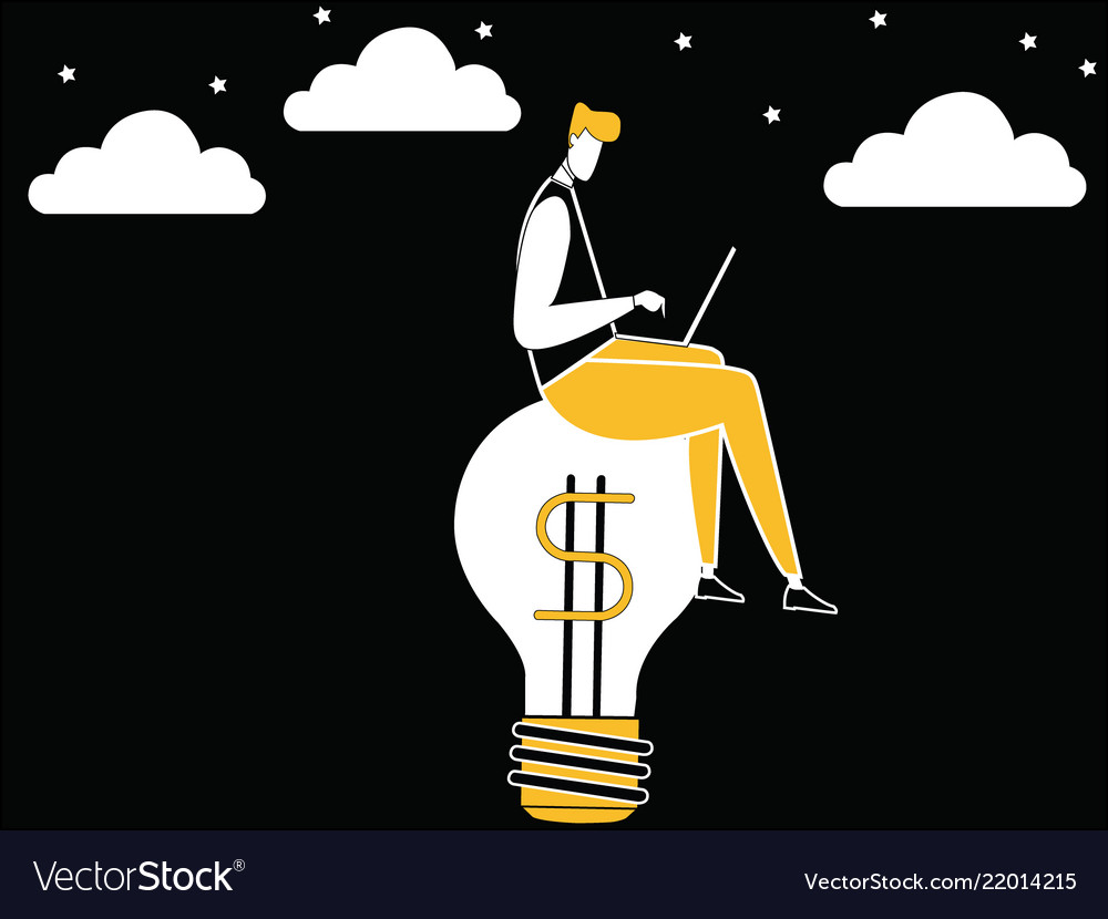 Business man working on idea bulb