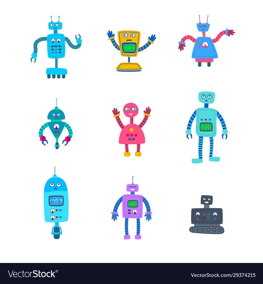 Cartoon color different robot characters icon set