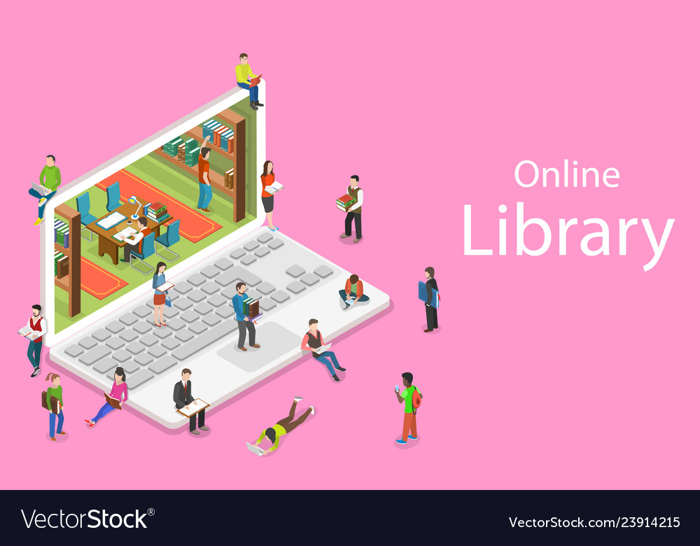 Isometric flat concept of online library