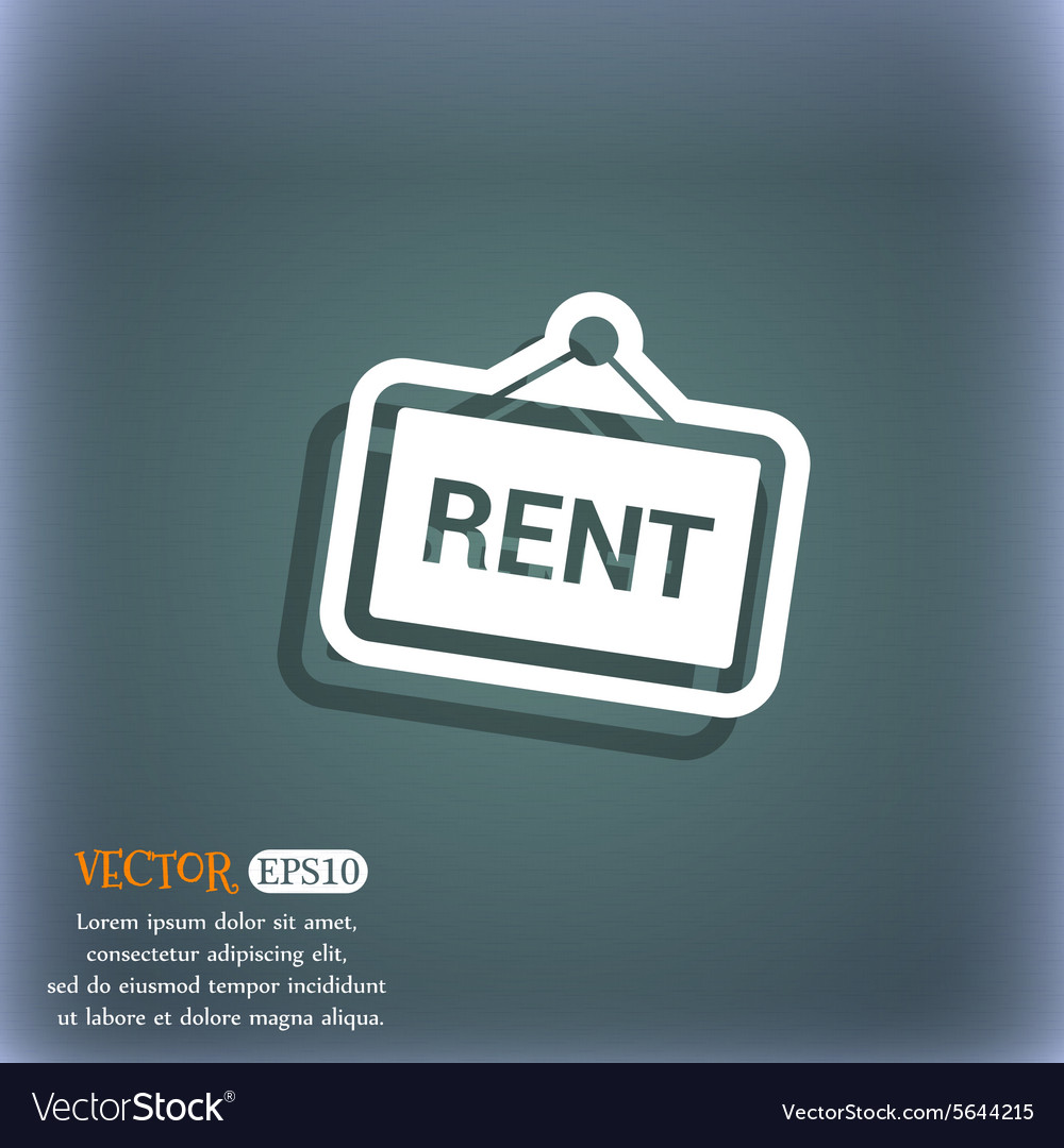Rent icon symbol on the blue-green abstract