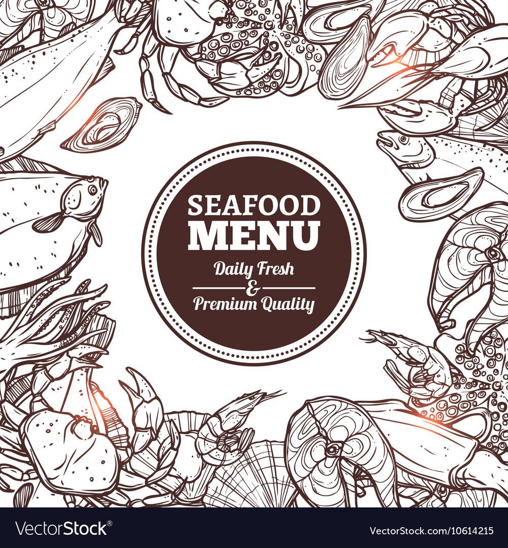 Seafood Sketch Menu vector image