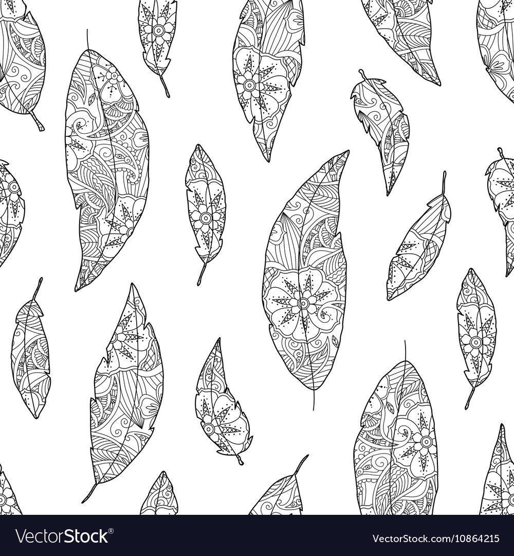 Seamless pattern of bird feathers with ornament