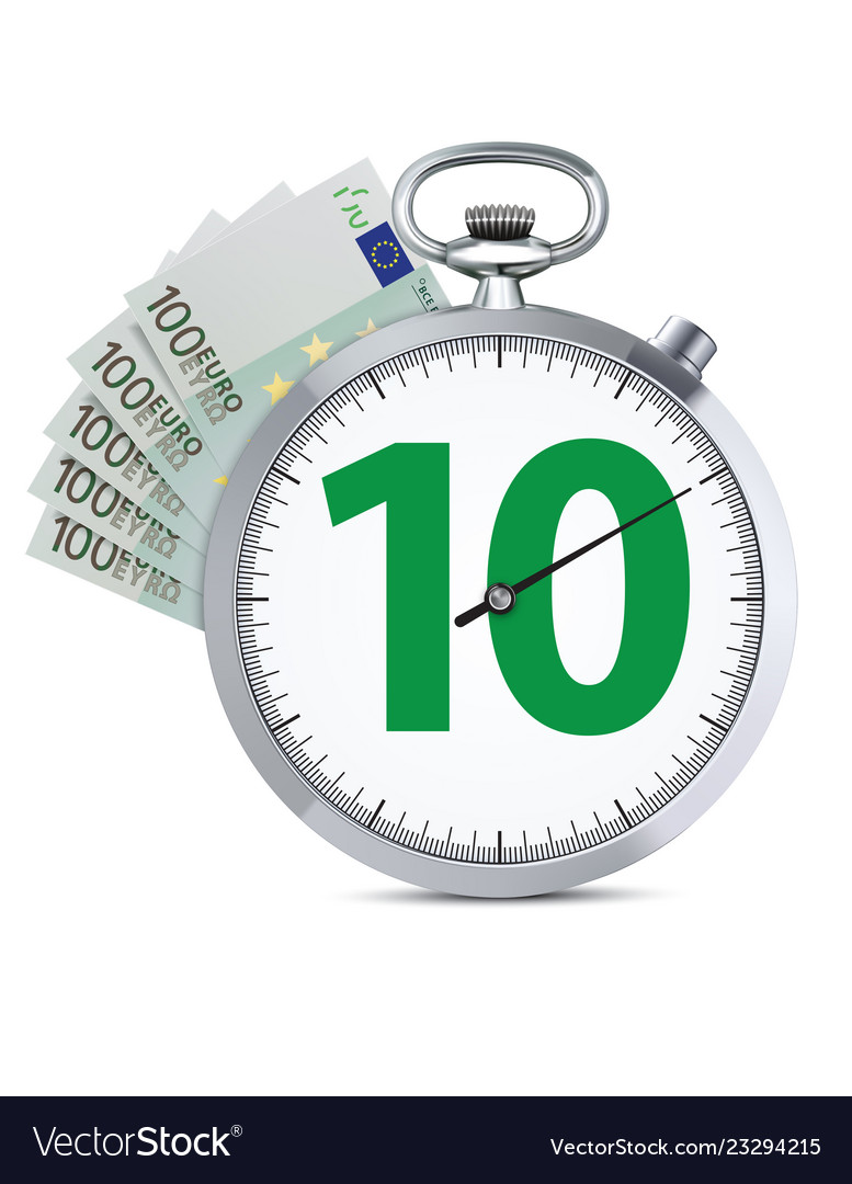 Stopwatch with hundred euro banknote speed money