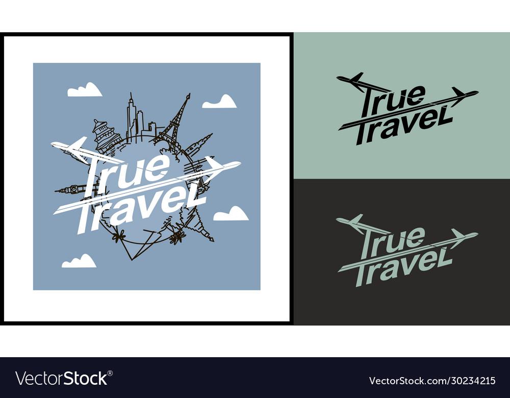 True travel template for logo emblems a tour