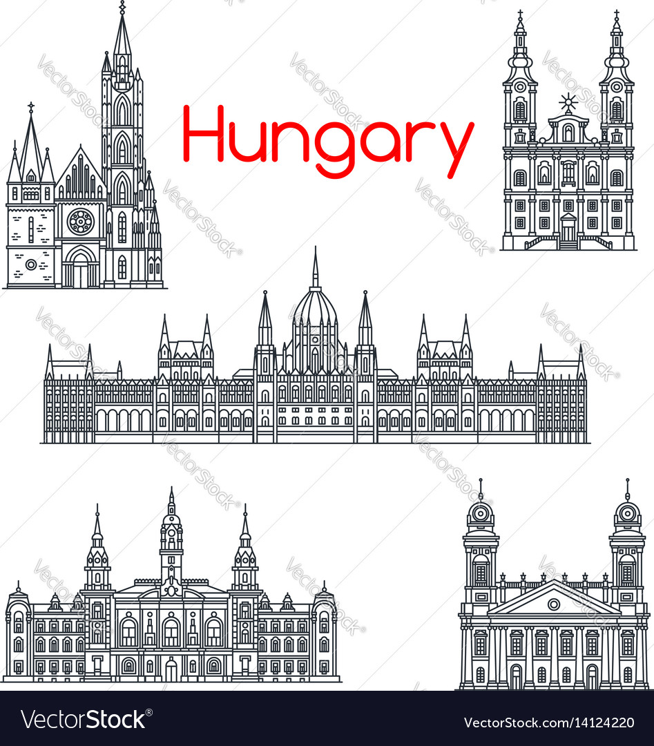 Architecture hungary buildings icons