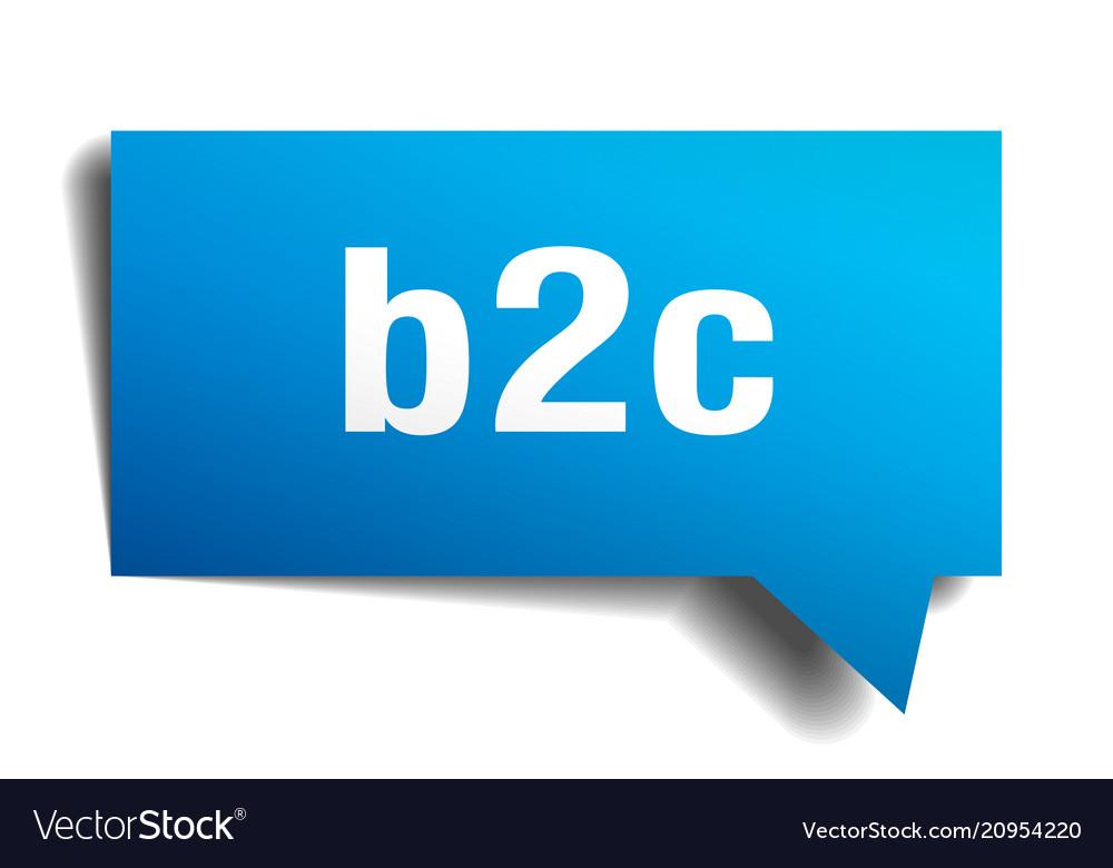 B2c blue 3d speech bubble