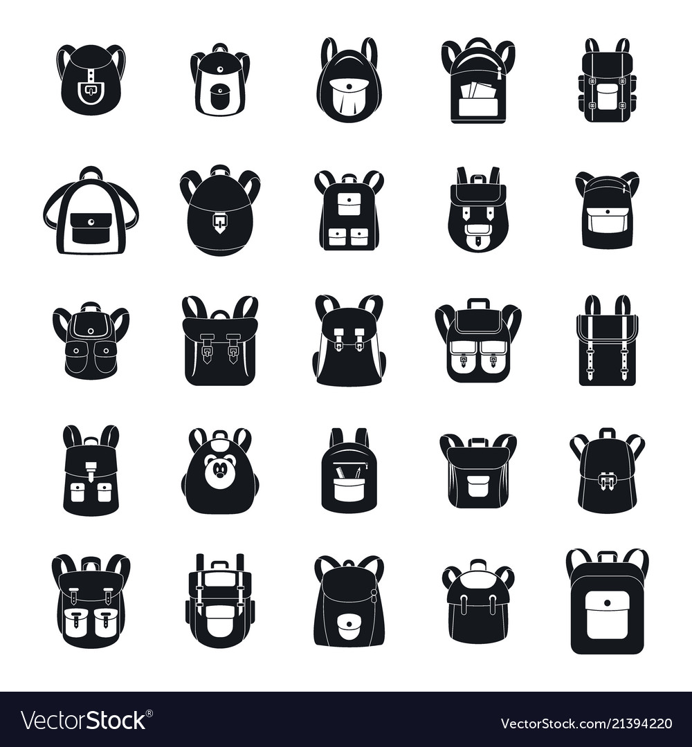 dcf43ccfbb1d Backpack school travel sport icons set simple Vector Image