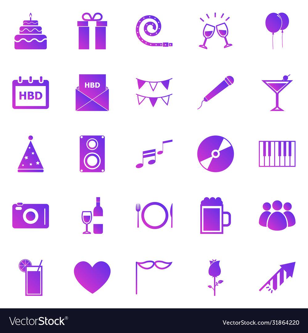 Birthday gradient icons on white background