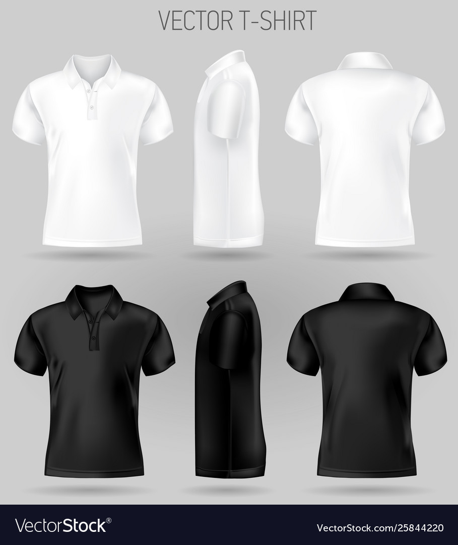 Black And White Short Sleeve Polo Shirt Design Vector Image