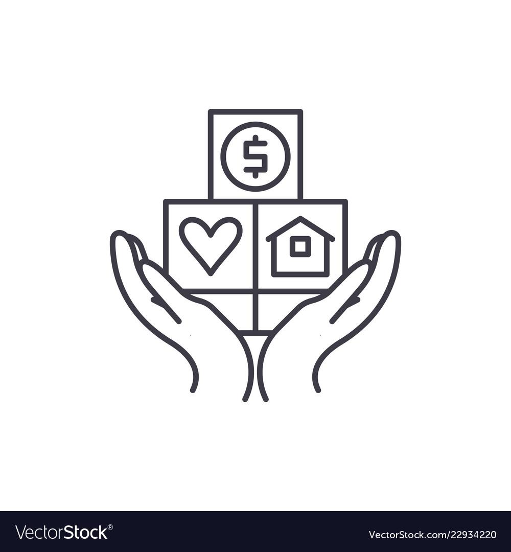 Consumer insurance line icon concept consumer